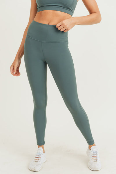 High Waisted Essential Performance Leggings in Deep Pastel Emerald | Allure Apparel Co
