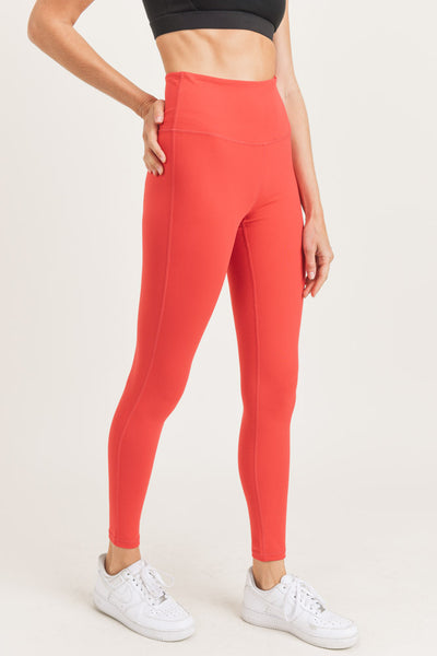 High Waisted Essential Solid Leggings in Medium Red | Allure Apparel Co