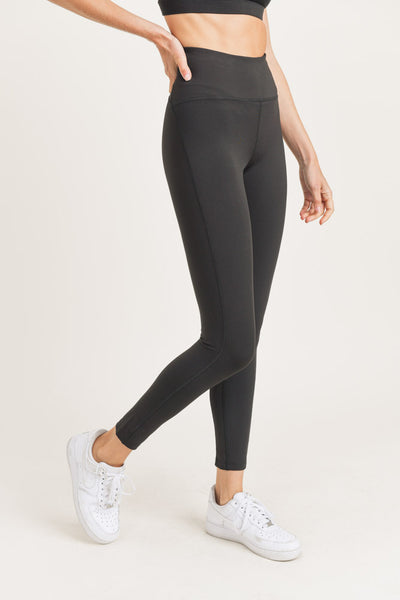 High Waisted Essential Waist-Shaper Leggings in Black | Allure Apparel Co