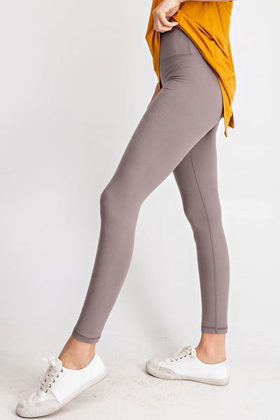 High Waisted Front Pocket Yoga Leggings in Smoky Grey | Allure Apparel Co