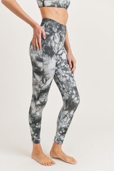 High Waisted Glass Tie-Dye Seamless Ribbed Leggings in Black/White | Allure Apparel Co