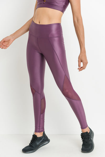 High Waisted Glazed Mesh Leggings in Purple | Allure Apparel Co