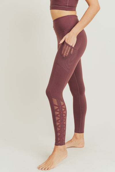 High Waisted Hybrid Lattice Mesh Pocket Leggings in Orchid | Allure Apparel Co