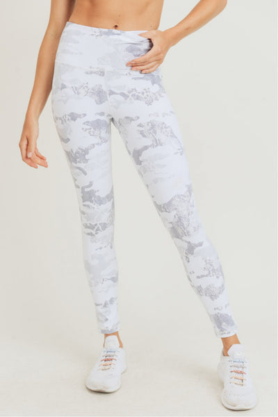 High Waisted Iced Camo Leggings in Ice White | Allure Apparel Co