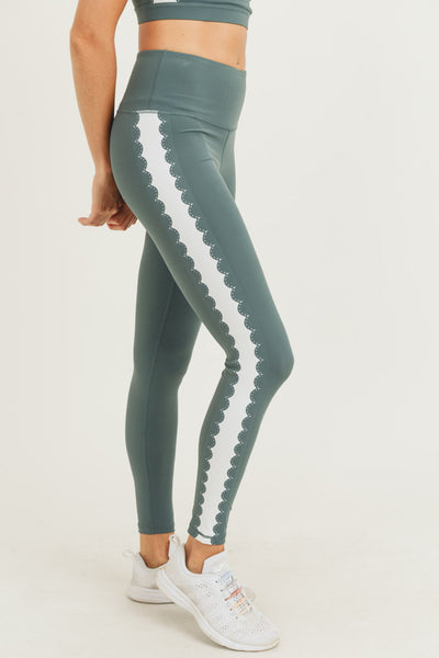 High Waisted Laser Cut Art Deco Leggings in Deja Vu Green | Allure Apparel Co