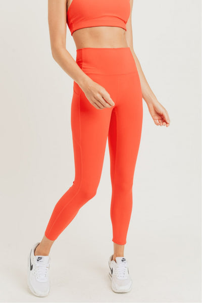 High Waisted Laser-Cut Essential Leggings in Orange | Allure Apparel Co