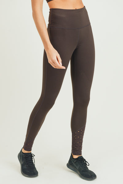 High Waisted Laser-Cut Lace Full Leggings in Coffee | Allure Apparel Co