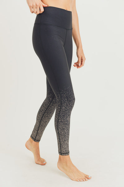 High Waisted Metallic Raindrop Leggings in Black with Copper Foil | Allure Apparel Co