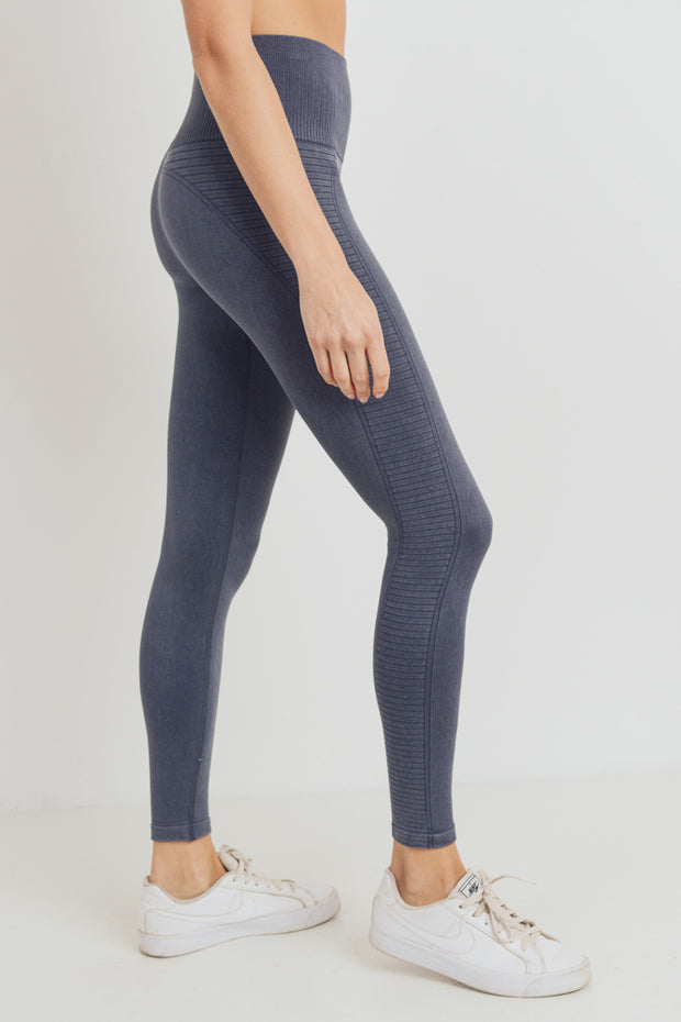 High Waisted Mineral Ribbed Seamless Leggings in Black | Allure Apparel Co