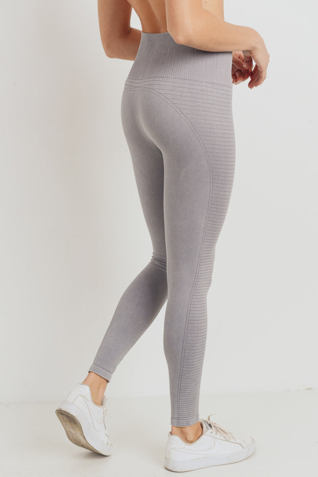 High Waisted Mineral Ribbed Seamless Leggings in Light Grey | Allure Apparel Co