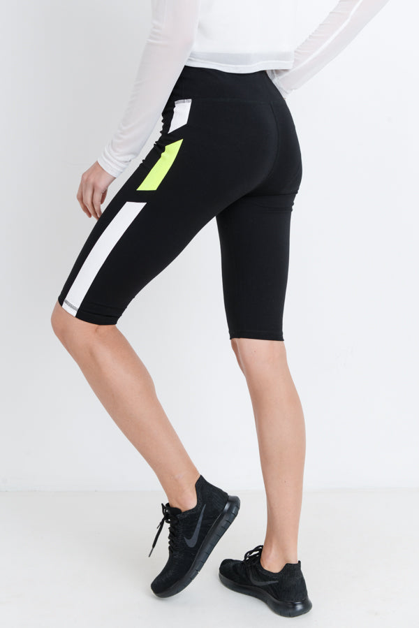 High Waisted Neon Stripes Short Knee-Length Cotton Leggings | Allure Apparel Co