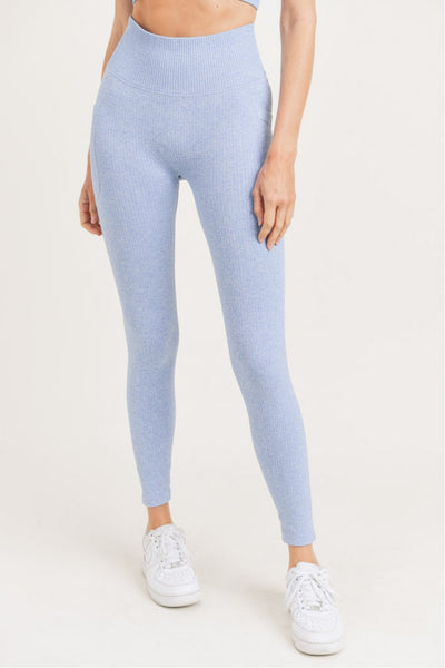 High Waisted Pocket Seamless Hybrid Leggings in Blue | Allure Apparel Co