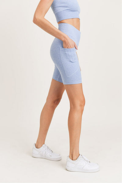 High Waisted Pocket Seamless Ribbed Bermuda Shorts in Blue | Allure Apparel Co
