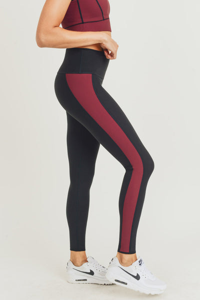 High Waisted Reversible Color Block Leggings in Black/Red | Allure Apparel Co
