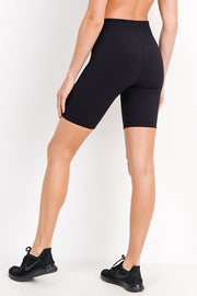 High Waisted Ribbed Bermuda Short Leggings in Black | Allure Apparel Co