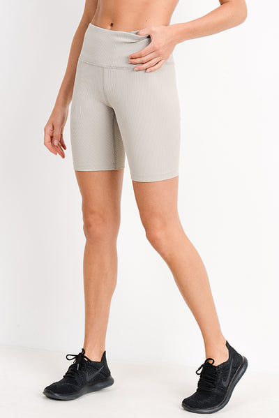 High Waisted Ribbed Bermuda Short Leggings in Sand | Allure Apparel Co