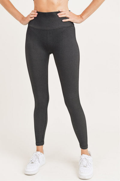 High Waisted Ribbed Brush Seamless Leggings in Black/Medium Grey | Allure Apparel Co