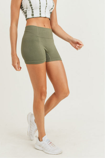 High Waisted Ribbed & Smooth Skinny Short Shorts in Olive | Allure Apparel Co