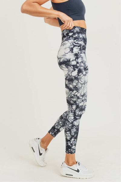 High Waisted Ribbed Tie-Dye Seamless Leggings in Dark Navy | Allure Apparel Co