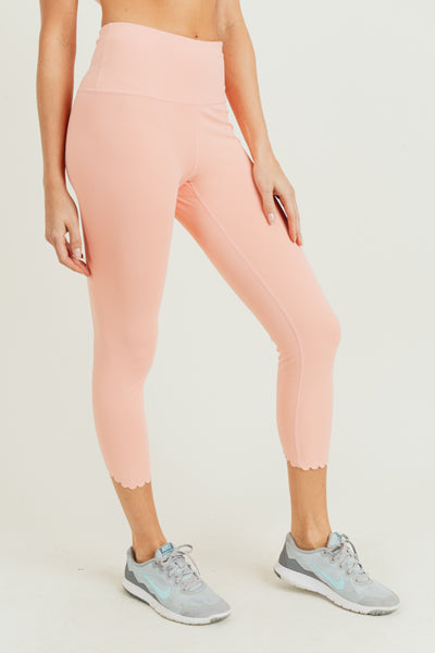 High Waisted Scalloped Laser Cut Leggings in Cantaloupe | Allure Apparel Co