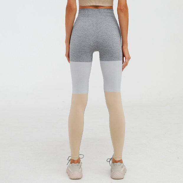 High Waisted Seamless Knit Color-Block Leggings in Yellow | Allure Apparel Co