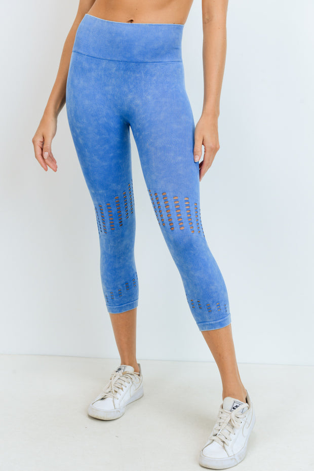 High Waisted Seamless Mineral Perforated Capri Leggings in Aqua | Allure Apparel Co