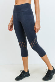 High Waisted Seamless Mineral Perforated Capri Leggings in Black | Allure Apparel Co