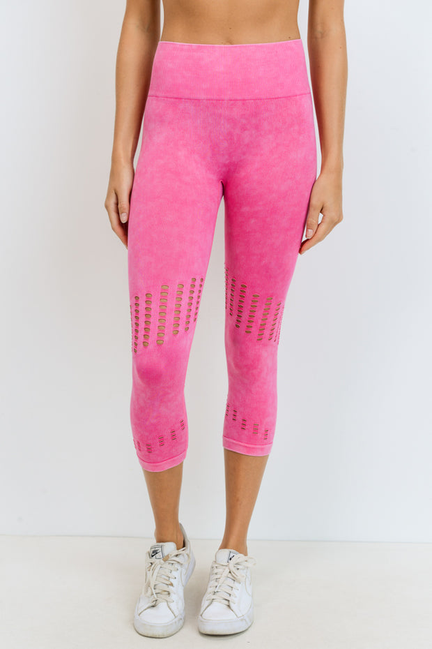 High Waisted Seamless Mineral Perforated Capri Leggings in Fuchsia | Allure Apparel Co