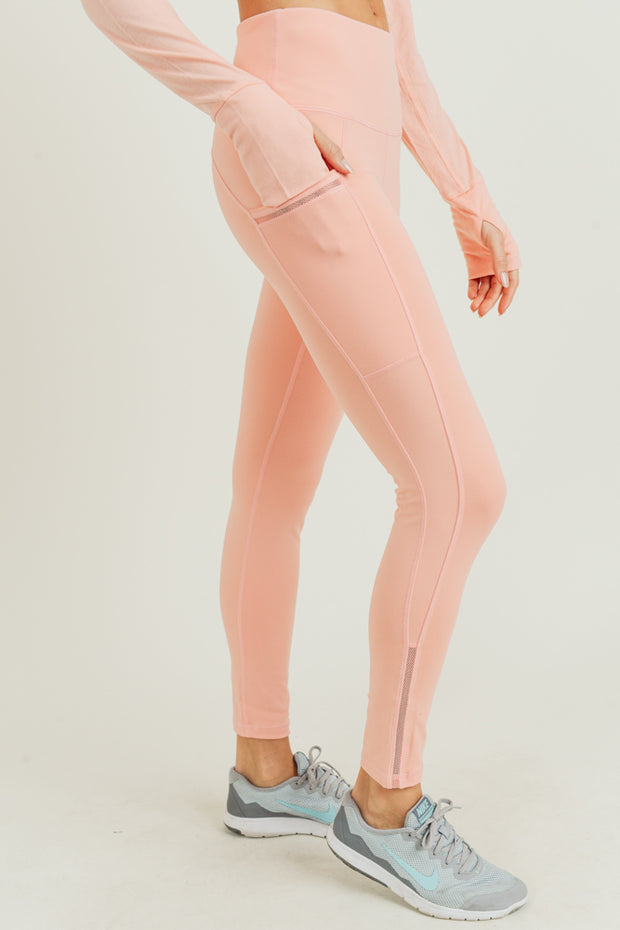 High Waisted Side Mesh & Slit Full Leggings in Cantaloupe | Allure Apparel Co