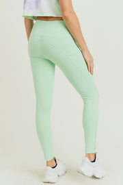 High Waisted Side Mesh & Slit Full Leggings in Mint | Allure Apparel Co