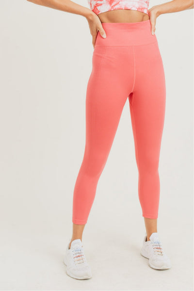 High Waisted Side Rib Seamless Leggings in Peach | Allure Apparel Co