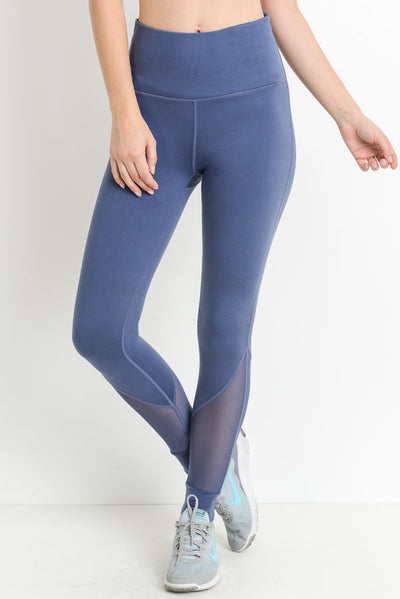 High Waisted Slanted Mesh Pocket Full Leggings in Denim Blue | Allure Apparel Co