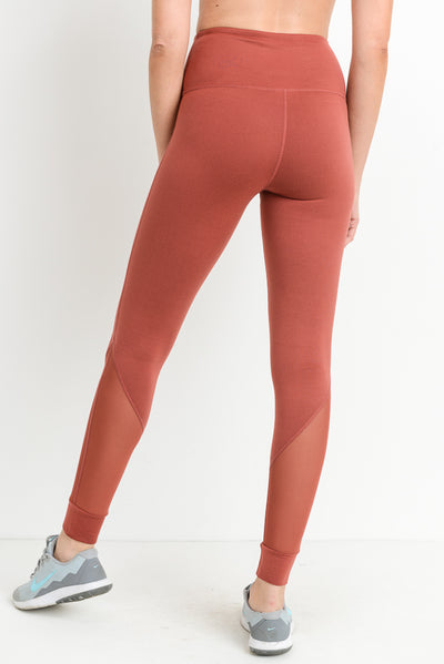 High Waisted Slanted Mesh Pocket Full Leggings in Moon Rust | Allure Apparel Co