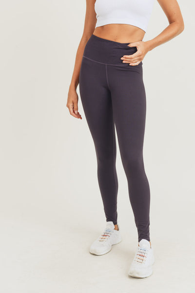 High Waisted Solid Essential Leggings in Grape | Allure Apparel Co