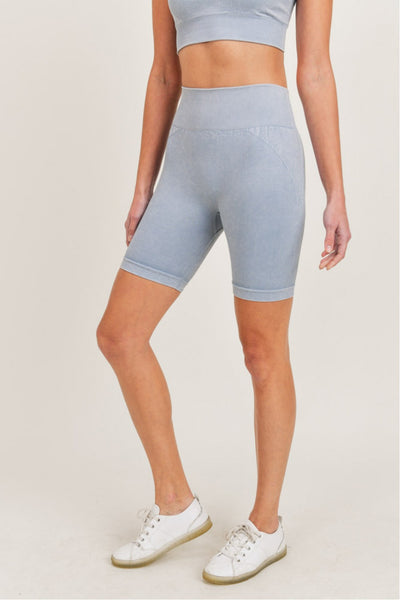High Waisted Spliced Mineral Seamless Biker Shorts in Ocean | Allure Apparel Co