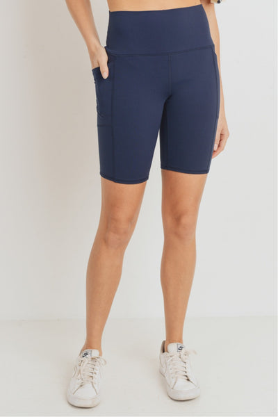 High Waisted Tapered Essential Bermuda Shorts in Dark Navy | Allure Apparel Co