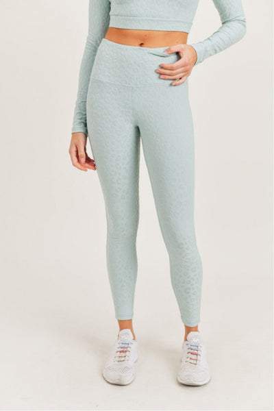 High Waisted Textured Leopard Print Leggings in Surf Spray | Allure Apparel Co
