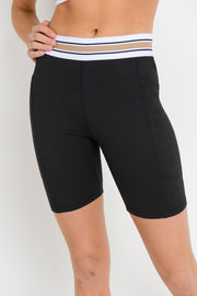 High Waisted Tricolor Band Short Leggings in Black/Taupe | Allure Apparel Co