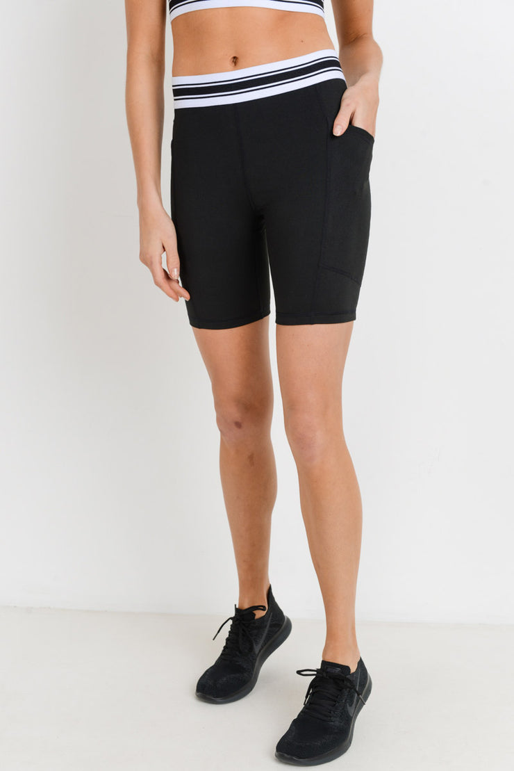 High Waisted Tricolor Band Short Leggings in Black/White | Allure Apparel Co