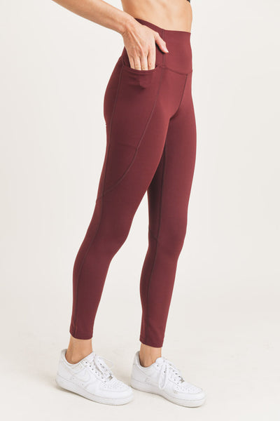 High Waisted Waist-Shaper Pocket Leggings in Burgundy | Allure Apparel Co