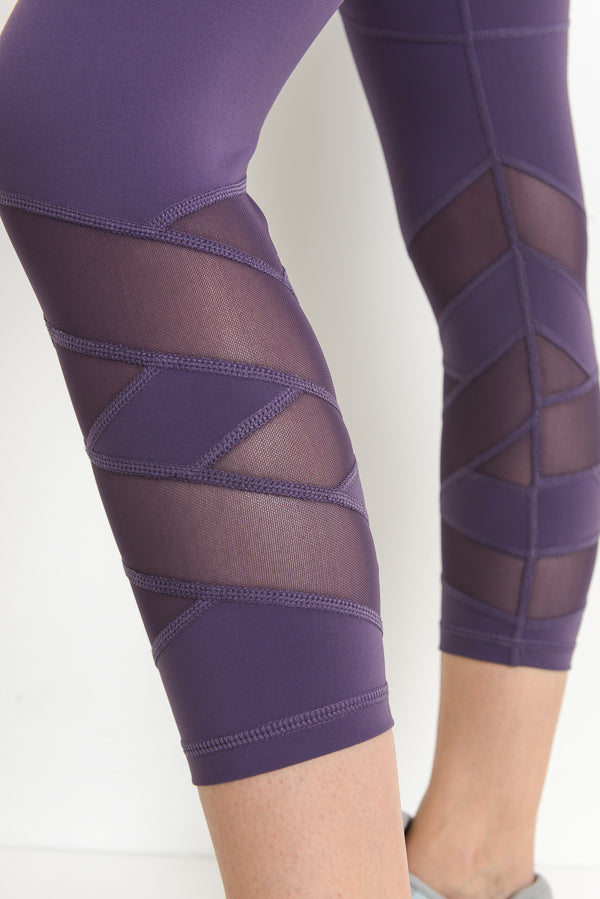 High Waisted Zig Zag Mesh Capri Leggings in Dark Violet | Allure Apparel Co