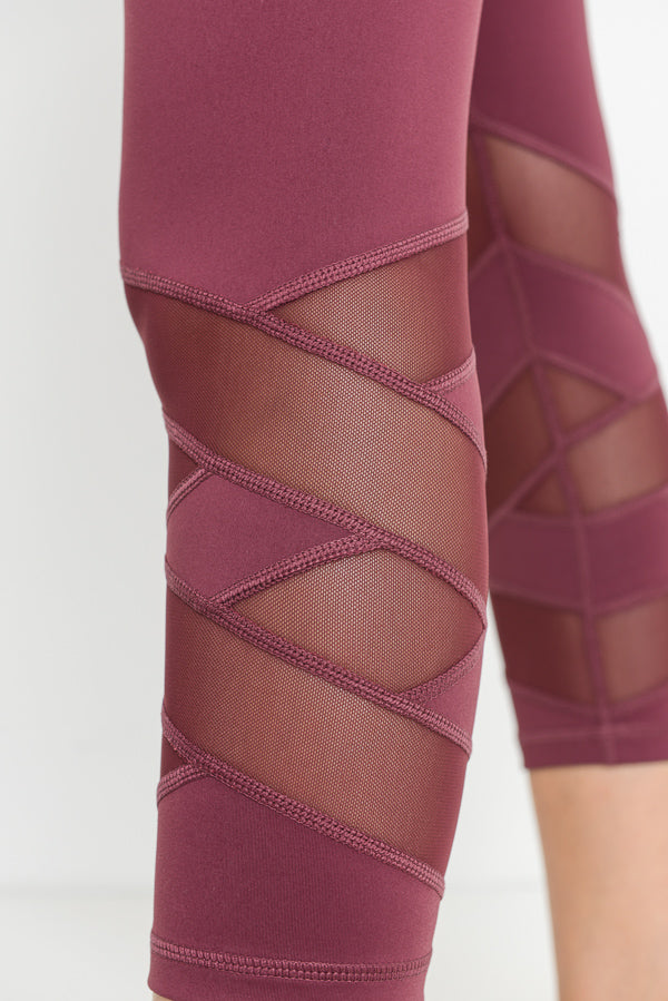 High Waisted Zig Zag Mesh Capri Leggings in Deep Plum | Allure Apparel Co