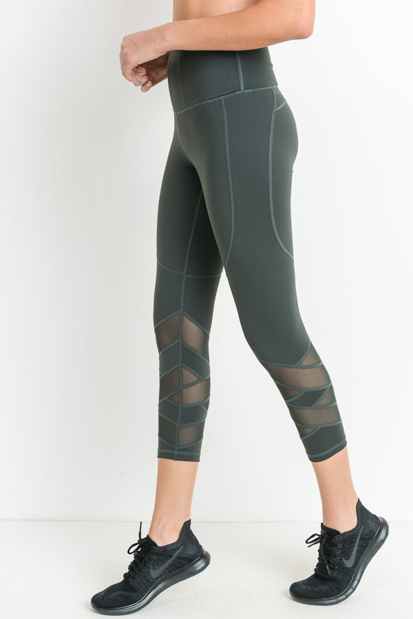 High Waisted Zig Zag Mesh Capri Leggings in Green | Allure Apparel Co