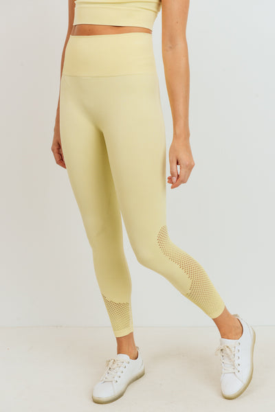 High Waisted Mineral Wash Seamless Leggings in Light Yellow | Allure Apparel Co