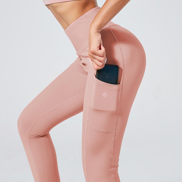 High Waisted Scrunch Butt Pocket Leggings in Pastel Pink | Allure Apparel Co