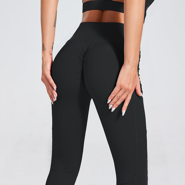 High Waisted Scrunch Butt Pocket Leggings in Raisin Black | Allure Apparel Co