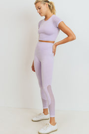Hybrid Seamless Mineral Wash Crop Top in Lavender | Allure Apparel Co