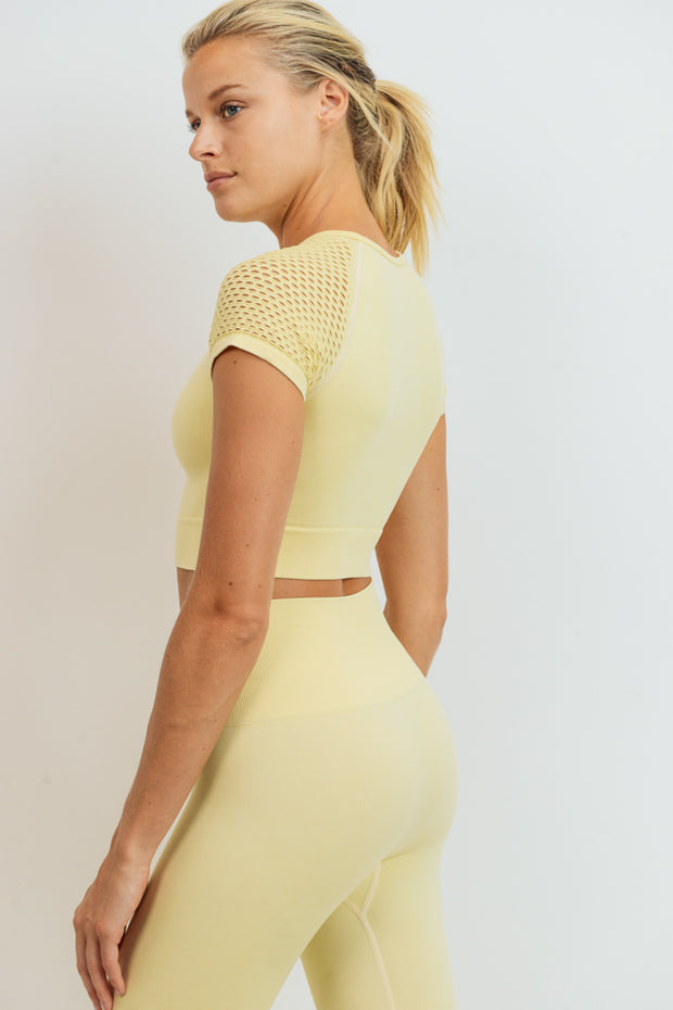 Hybrid Seamless Mineral Wash Crop Top in Light Yellow | Allure Apparel Co