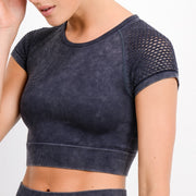 Hybrid Seamless Mineral Wash Crop Top | Allure Apparel Co