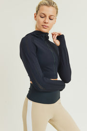 Hybrid Seamless Perforated Crop Hoodie in Black | Allure Apparel Co